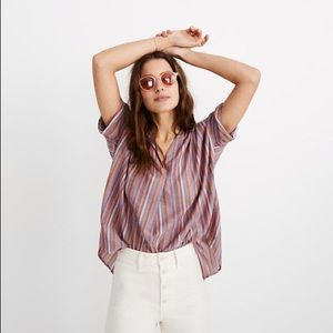 Madewell courier button back shirt rainbow stripe